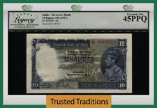 Tt Pk 19a Nd (1937) India Reserve Bank 10 Rupees George Vi Lcg 45 Ppq Ext Fine!