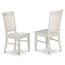 Dining Wood Seat Dining Chair With Slatted Back In Linen White Finish Set Of 2