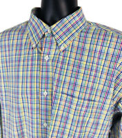 Sette Ponti Shirt Mens Size XXL Multi Colored Checked Button Long Sleeve 2XL