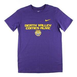 Nike Kids Boys Purple Gold Athletic NCAA LSU Core Cotton Short Sleeve T-Shirt