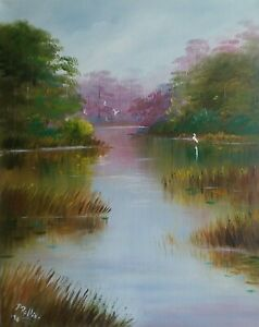 Original Florida Painting Oil 16x20     Swamp Egrets  Pat Rollins Artist
