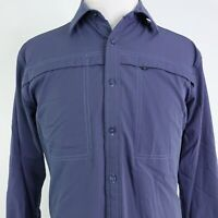 TERRITORY AHEAD LONG SLEEVE BLUE BUTTON UP VENTED FISHING HIKING SHIRT MENS SZ M