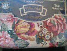 THOMASTON IVORY COTILLION FLORAL TWIN SHEET SET NIP