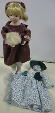Vintage 9� Tall Porcelain Doll With Dresses