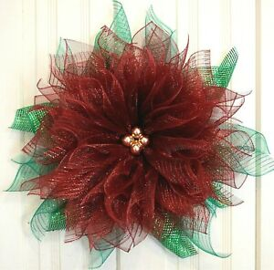 Handmade*  Burgundy Poinsettia Wreath* Christmas* Winter*