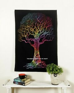 Indian Tree Of Life Wall Hanging Boho Ethnic Cotton Poster Tapestry Table Cover