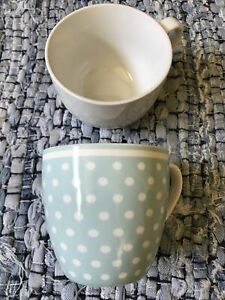 2 Large Mugs Polka Dot Cup White Coffee Server Height 9cm Width 10cm Tea Soup