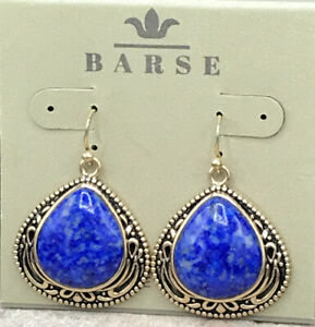 Barse Denizen Earrings- Denim Lapis- Bronze- New With Tags