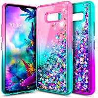 For LG G8X ThinQ Case NageBee Liquid Glitter Waterfall Bling Cute Phone Cover