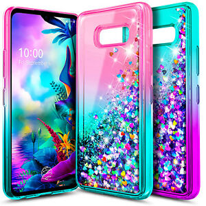 For LG G8X ThinQ Case NageBee Liquid Glitter Waterfall Bling Cute Phone Cover