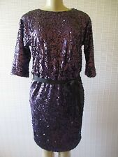 ELIZA J PURPLE SEQUIN EMBELLISHED 3/4 SLEEVE COCTAIL DRESS SIZE 4 - NEW