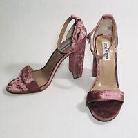 Steve Madden Carrson Sandal W/Heel, Women's, Size 7.5 M, Pink Velvet EXCELLENT