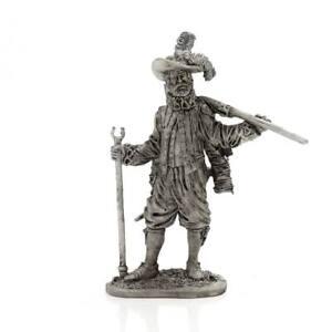 "Tin toy soldier ""English musketeer-veteran"" metal sculpture 1/32 (54mm) #M13"