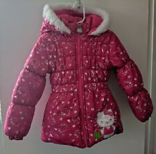Hello Kitty Winter Coat Girls Size 5 Pink Faux Fur Hood
