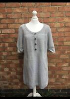 Autograph Grey Cashmere & Wool Short Sleeved Chunky Jumper Dress Size 18 B35