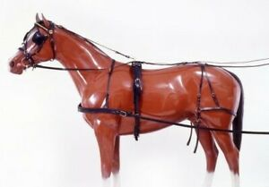 Tracker Leather Driving Harness - Black Leather - Cob - Small Horse Size