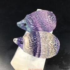 Natural Quartz Crystal skull Carved Rainbow fluorite Hedgehog stone healing UK