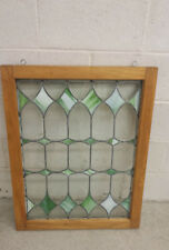 "VINTAGE green slag and clear glass window zinc 24"" x 31"" x 1 1/2"" framed"