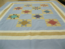 Patchwork Quilt Top Fabrics Twin Full 78 In x 88 In Machine Pieced Blocks Star