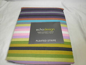 New Echo Design Fabric Shower Curtain PLEATED STRIPE 72X72 - Multi Color NIP