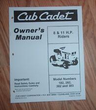 CUB CADET 182,  282 & 382 OWNERS OPERATORS MANUAL #2