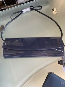 New Tagged Dorothy Perkins detachable strap Shoulder Navy Patent Clutch Bag