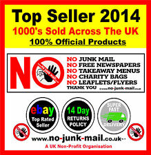 NO JUNK MAIL SIGN- STOP UNWANTED JUNK MAIL - FRONT DOOR WARNING NOTICE (DECAL)