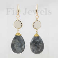 ORECCHINI gocce sodalite cristalli ottone EARRINGS faceted sodalite drops