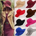 HOT! Vintage Women Wide Brim Floppy Warm Wool Blend Felt Hat Trilby Bowler Cool
