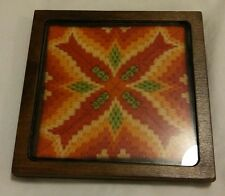 vtg crocheted wall plaque decoration 60s 70s