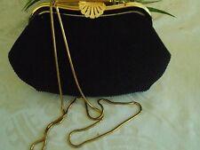Vintage WALBORG Black Clutch Evening Bag Seashell Clasp Long Goldtone Chain