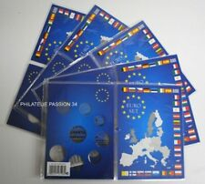 5 Cartes de collection pour série de pièces  Euro de 1cts à 2 euros - Réf 315678