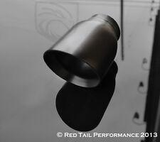 "Black Exhaust Muffler Tip Dual 3"" OD Round Staggered Slash Cut 2.5"" Inlet ID"