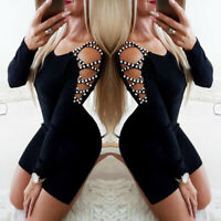 Women's Long Sleeve Bodycon Pearl Hollow Out Evening Party Cocktail Mini Dress