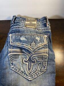 Men's Rock Revival Goldfinch Straight Denim Blue Jeans Size 38W x 30L