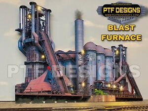 O Scale BLAST FURNACE -  Steel Mill Building Flat w/ LEDs Trackside Lionel MTH