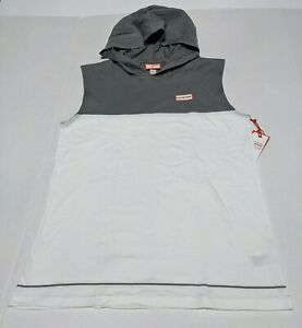 HUNTER Brand Boys White/Grey Hooded Sleeveless Muscle Shirt NWT Large-(12/14)