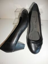Black Pleated Front Comfort Court Shoes Size 9 Wide Fit (E) BNWT From Evans