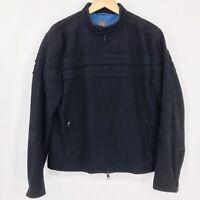 A X Armani Exchange Mens Wool Racer Style Jacket Coat Zip Sleeves Black Sz L