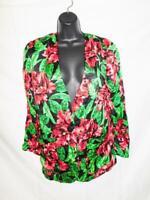 Vintage 80s S Black Red Rose Floral Silk Blazer Dress Jacket Tunic One Button Sm
