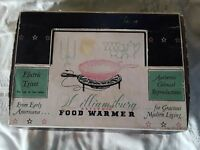Vintage Williamsburg Electric Food Warmer Model 1700 Black Cast Iron in the box