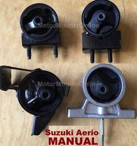 9R1803 4pc Motor Mounts fit MANUAL 2002 - 2007 Suzuki Aerio Engine Trans Mounts