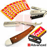Men's Shaving Razor Wood Heavy Steel Barber Safety Straight Folding Knife Blades
