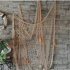 Kingso Mediterranean Style Decorative Fish Net With Anchor and Shells White