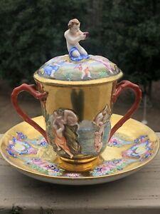 Antique CHOCOLATE / Tea CUP SAUCER CAPADIMONTE GINORI DOCCIA TWOHANDLE LID Italy