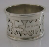 UNUSUAL HAND MADE STERLING SILVER MODERNIST NAPKIN RING LONDON 1977 TREES