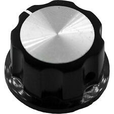 Large Black Knob with Silver Insert and Indicator for Pedals, Guitars, Amps