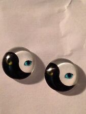 Yin Yang Ying Cat 12mm Round  Earrings Studs