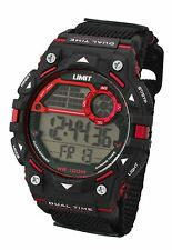 Limit Mens 100m Digital Watch Black And Red Strap Watch Plastic Case Model 5603