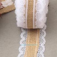 10m Roll Vintage Lace Linen Edged Hessian Burlap Ribbon Rustic DIY Wedding Party